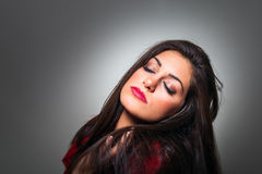 Portrait of Gorgeous Young Woman with Closed Eyes, Profile On Gr Stock Photos