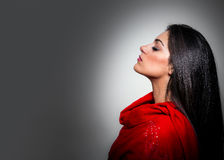 Portrait of Gorgeous Young Woman with Closed Eyes, Profile On Gr Royalty Free Stock Photography
