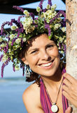 Portrait of gorgeous young woman in floral wreath Stock Image