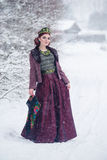 Portrait of a gorgeous young woman wearing russian style dress on a strong frost in a winter snowy day in the village. Russian model girl in traditional Stock Photography