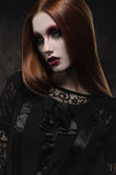 Portrait of gothic girl with black eyes Stock Photography