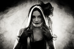 Portrait Gothic Girl In Style Clothes, Shot Over Smoky Background Royalty Free Stock Photo
