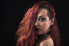Portrait of a gothic girl. Isolated on black background Royalty Free Stock Photos