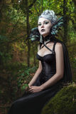 Portrait of gothic girl. Portrait of gothic girl in the woods, wearing her corset and collar of feathers stock photos