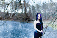 Portrait of the gothic woman on the frozen lake Royalty Free Stock Image