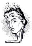 Portrait gothique admirablement détaillé d'homme extraordinaire Illustration fantastique et folle Illustration psychédélique et m illustration libre de droits