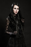 Portrait of gotic girl with black eyes Royalty Free Stock Images