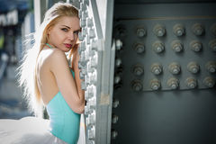 Portrait of graceful ballerina in  the industrial Royalty Free Stock Image