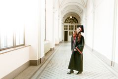 Portrait of graduating student girl of the university Royalty Free Stock Images