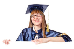 Portrait of a graduating woman with a banner Stock Photo