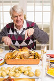 Portrait of a grandfather carving roast turkey at christmas Royalty Free Stock Images