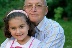 Portrait of grandfather and kid Stock Photo