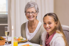 Portrait of grandmother and daughter at christmas Royalty Free Stock Images