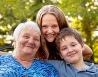 Three of Kind. Portrait Grandmother and grandchilds on walk Stock Images