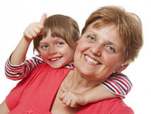 Portrait of a grandmother and a granddaughter Stock Photo