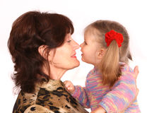 Portrait of grandmother and granddaughter. Stock Photo