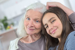 Portrait grandmother with granddaughter Stock Photography