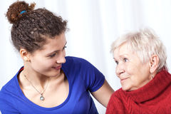 Portrait of a grandmother and granddaughter Royalty Free Stock Photo