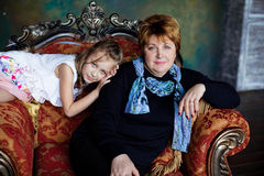 Portrait Of Grandmother With Granddaughter Stock Photos