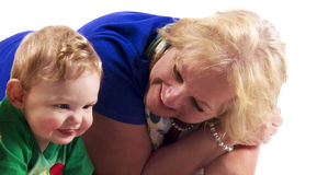 Portrait of a grandmother and grandson Stock Image