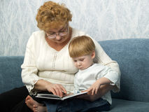 Portrait of the grandmother with the grandson Stock Photo