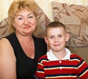 Portrait of the grandmother with the grandson Stock Photography