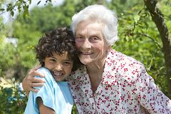 Portrait of a Grandmother and her happy grandson Royalty Free Stock Photography