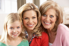 Portrait Of Grandmother,Mother And Daughter Royalty Free Stock Image