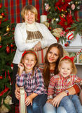 Portrait of a grandmother and teen granddaughters near the Chris Stock Images