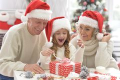 Portrait of grandparents with grandchild preparing for Christmas royalty free stock photography