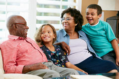 Portrait Of Grandparents With Grandchildren. Smiling Royalty Free Stock Photo