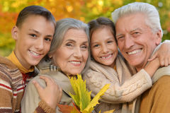 Portrait of grandparents with grandchildren stock image