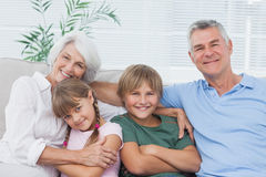 Portrait of grandparents with their grandchildren Stock Photo