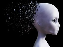 3D rendering of an alien head that shatters. Royalty Free Stock Photography