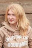 Portrait of green-eyed girl wearing wool sweater Stock Photos