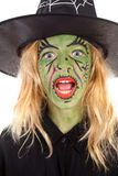 Portrait of green halloween witch Royalty Free Stock Image
