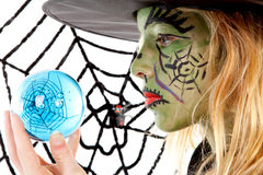Portrait of green Halloween witch in closeup Royalty Free Stock Images