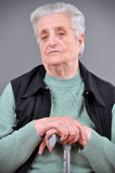Portrait of grey haired woman Stock Photography