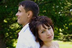 Portrait of groom and bride Royalty Free Stock Images