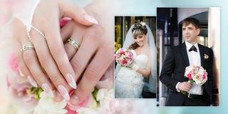 Portrait of the groom and the bride with a wedding bouquet and hands with rings close up Stock Photography