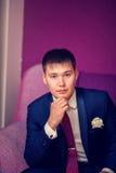 Portrait of groom indoors in purple interior Stock Images