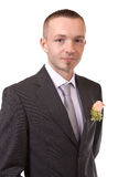 Portrait of a groom. Isolated on white Stock Images