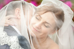 Portrait of groom kissing bride in neck under veil Stock Photo