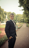 Portrait of the groom in park Stock Image