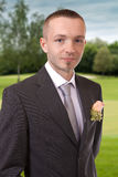 Portrait of a groom. In the park Stock Photography