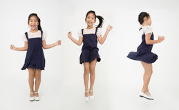 Portrait group of asian cute girl is jumping with smile face Stock Images