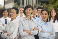 Portrait of group of business people outdoors, Beijing Royalty Free Stock Photos