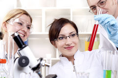 Portrait of a group of chemists Stock Photo