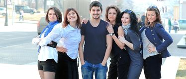 Portrait of a group of fellow students. Photo with copy space Stock Images