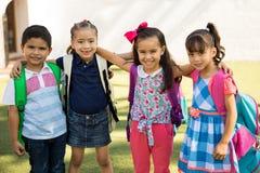 Cute preschool friends outdoors Royalty Free Stock Photos